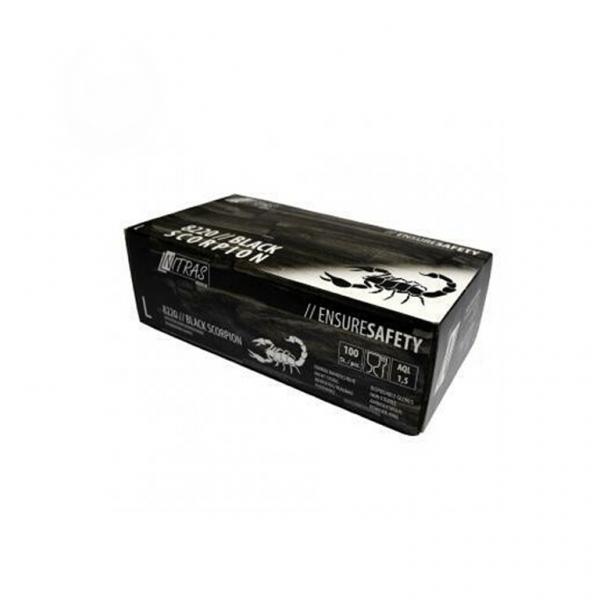 Black Skorpion Latex-Einweghandschuhe schwarz 100 Stk