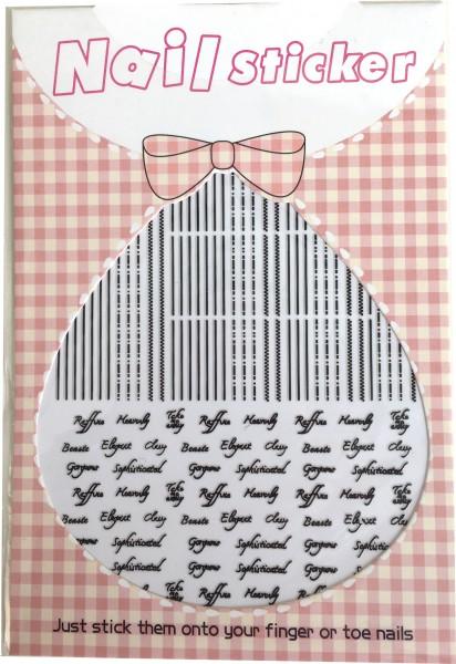 Nailart Sticker-Streifen und Schrift schwarz